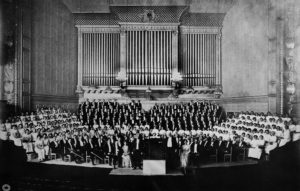 Archival photograph of the H+H Orchestra and Chorus in Symphony Hall