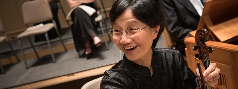 Violinist Lena Wong smiling