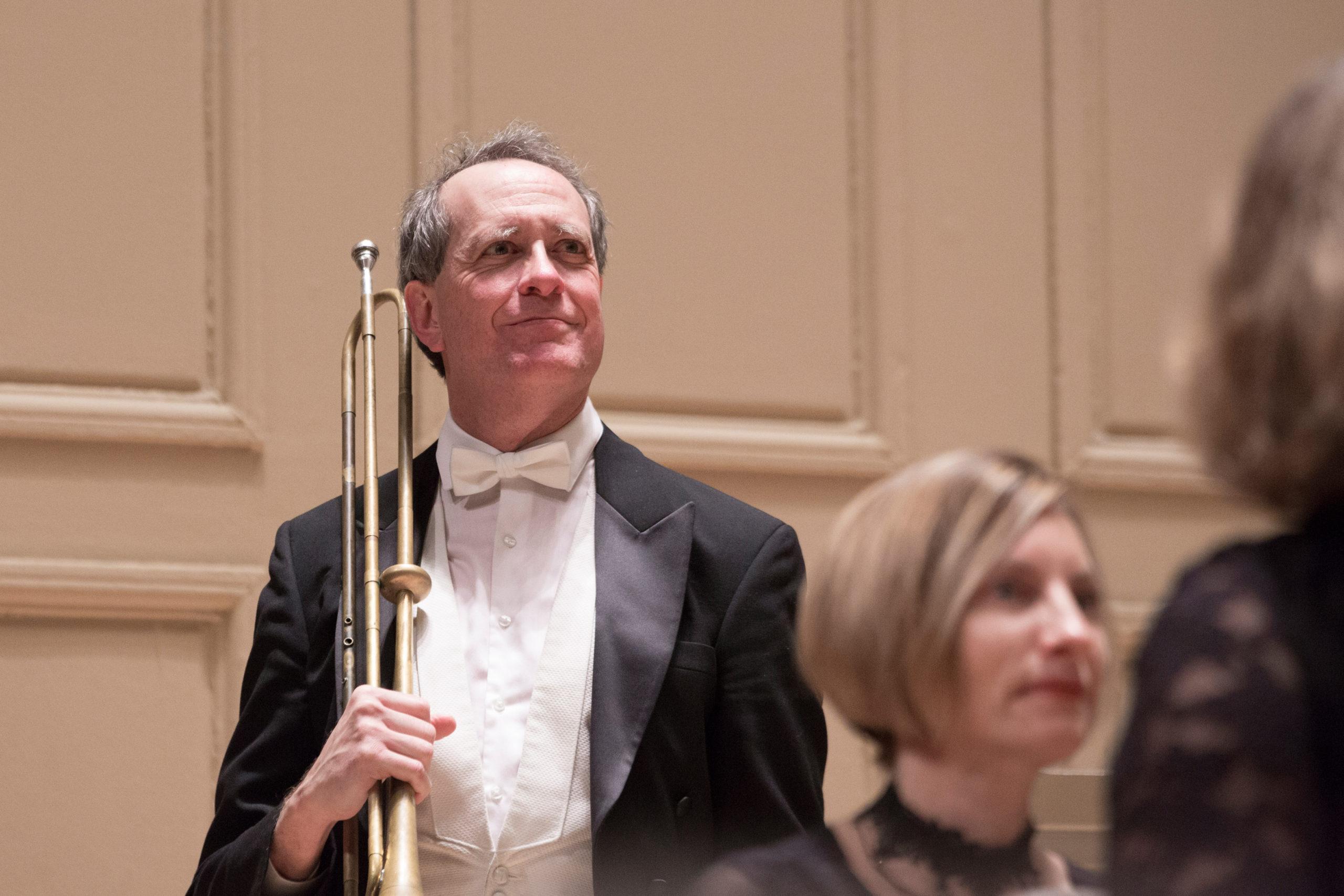 Trumpeter Jesse Levine smiling
