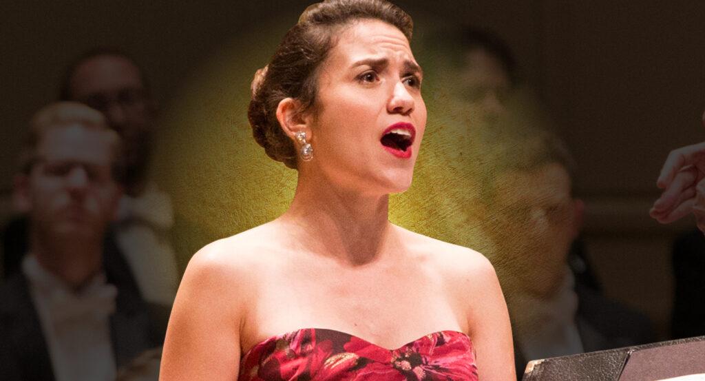 Soprano Joélle Harvey with a gold glow
