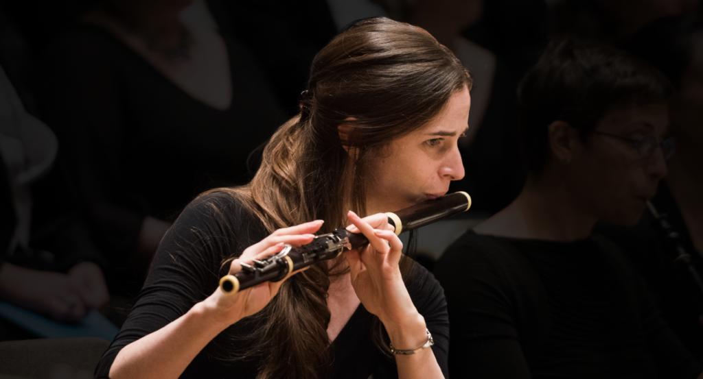 Flutist Emi Ferguson playing