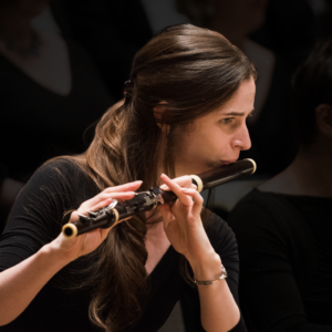 Flutist Emi Ferguson playing