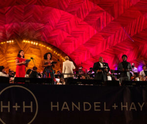 Soloists and conductor at the Hatch Shell for Beethoven's 9th Symphony